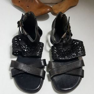 Bed Stu Capriana Black sandals distressed leather